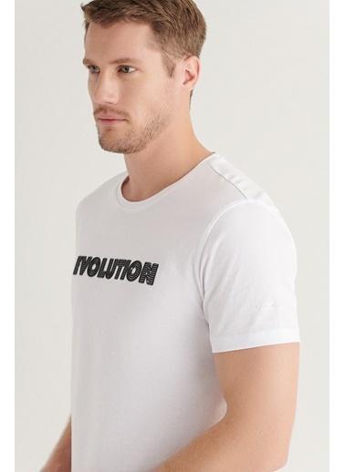 Avva AVVA Erkek Beyaz Bisiklet Yaka Baskılı T-Shirt A11Y1020 Beyaz